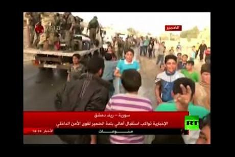 سكان الضمير يحتفلون بدخول الجيش العربي السوري البلدة
