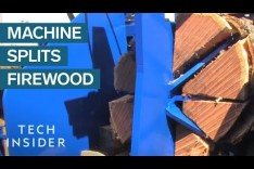 Watch A Machine Turn Tree Trunks Into Firewood In Seconds